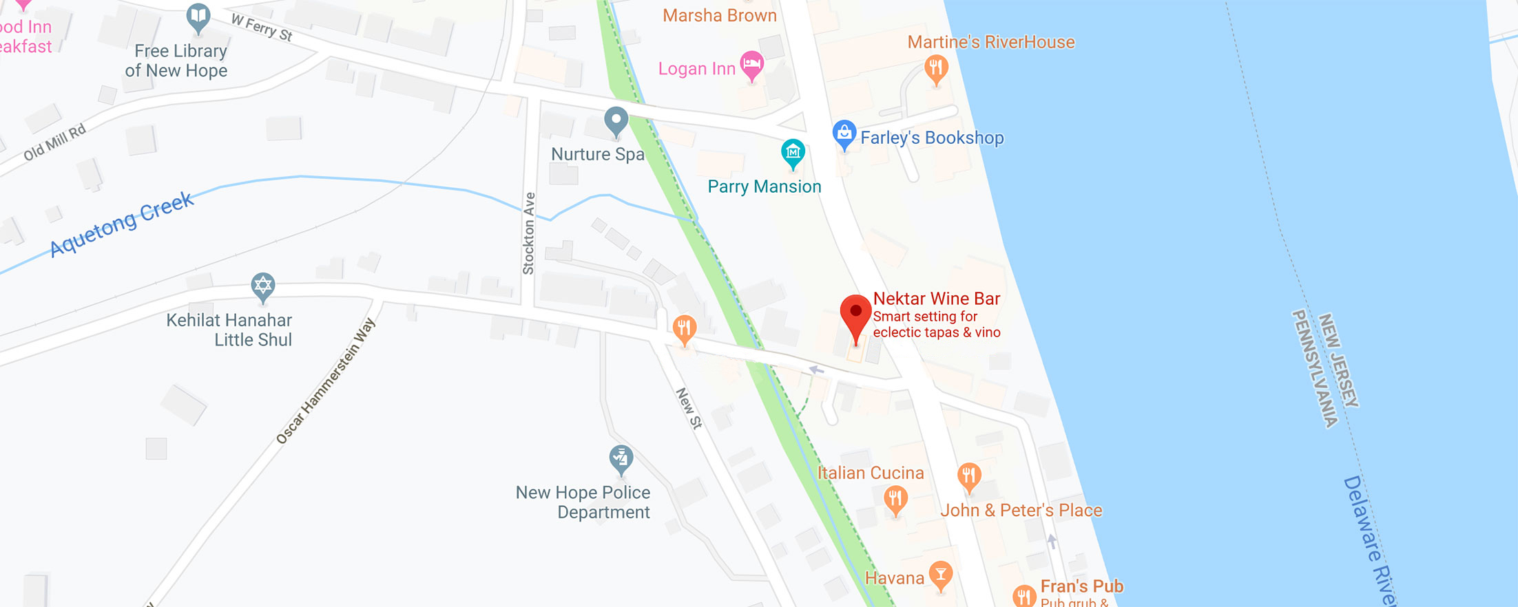 New Hope map with Nektar Wine Bar